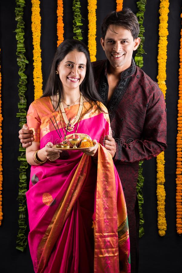 Indian Young Couple In Ethnic Wear In Namaskara Pose Stock Image Image Of Expression Female 110423495