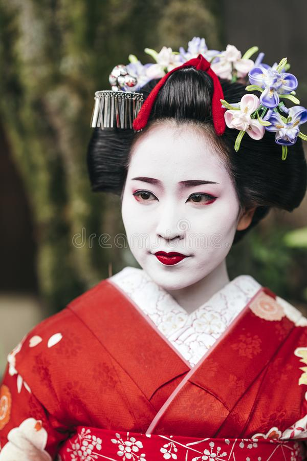 Portrait of a Maiko geisha in Gion Kyoto royalty free stock photography