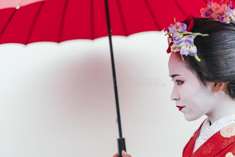 Portrait of a Maiko geisha in Gion Kyoto stock images