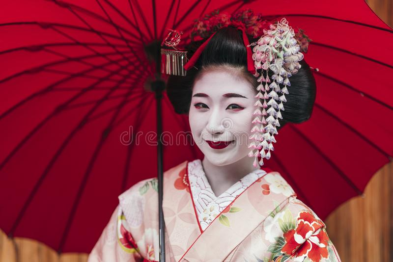 Portrait of a Maiko geisha in Gion Kyoto royalty free stock photo