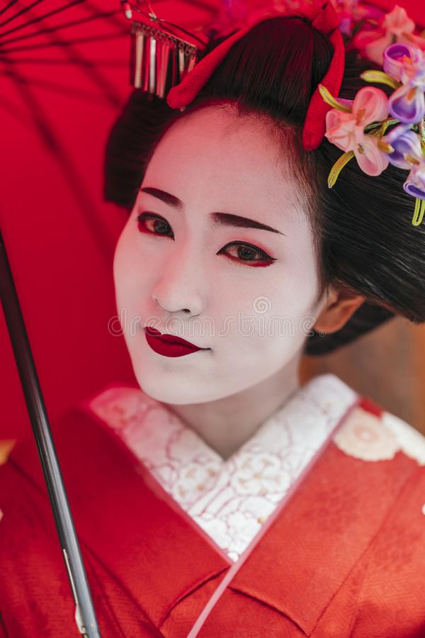 Portrait of a Maiko geisha in Gion Kyoto stock image