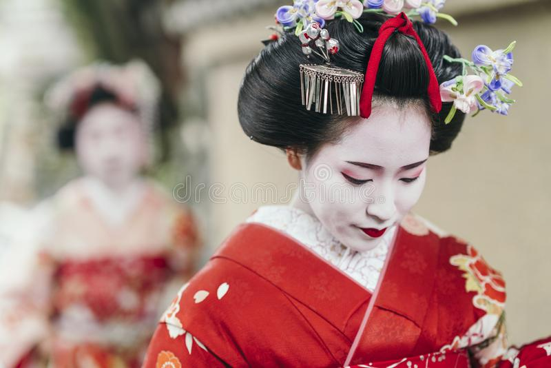 Portrait of a Maiko geisha in Gion Kyoto royalty free stock photos