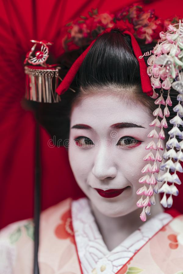 Portrait of a Maiko geisha in Gion Kyoto stock photography