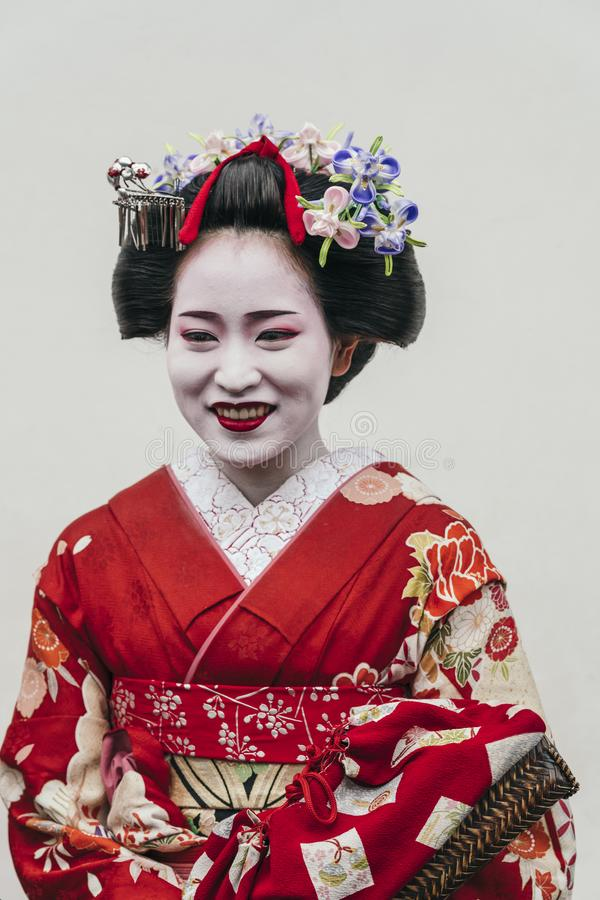Portrait of a Maiko geisha in Gion Kyoto stock photos
