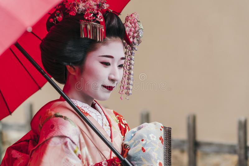 Portrait of a Maiko geisha in Gion Kyoto royalty free stock images