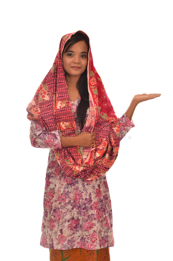 Portrait of a Malay woman with kebaya on white background royalty free stock images