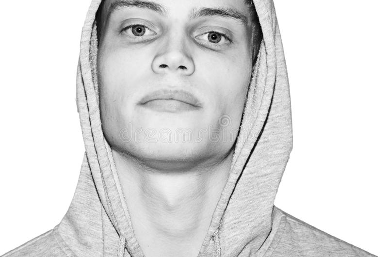Portrait male - With hood shirt royalty free stock image