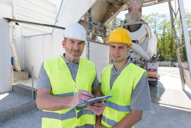 Portrait male construction worker on building site. Portrait of male construction worker on building site stock image