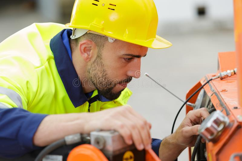Portrait male construction worker outdoors stock photo