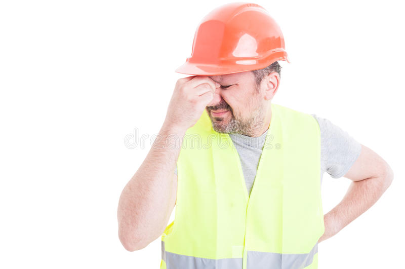 Portrait of male constructor forgot to do something stock images