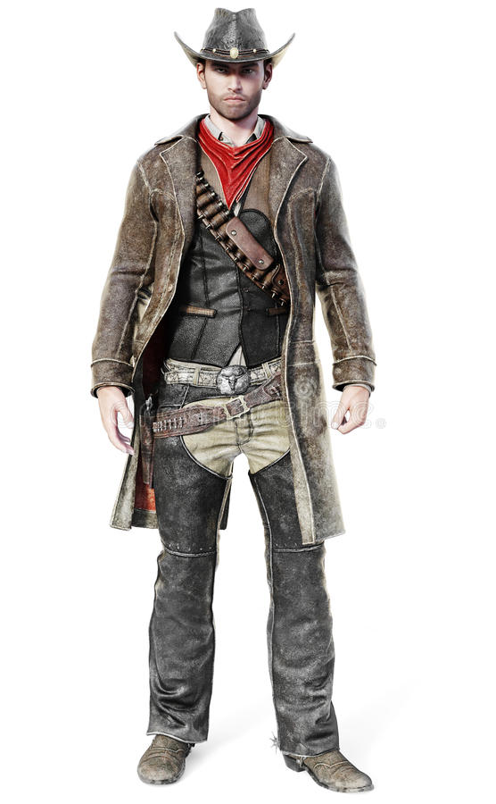 Portrait of a male cowboy in a traditional western outfit prepared to draw his weapon. 3d rendering on an isolated white background vector illustration