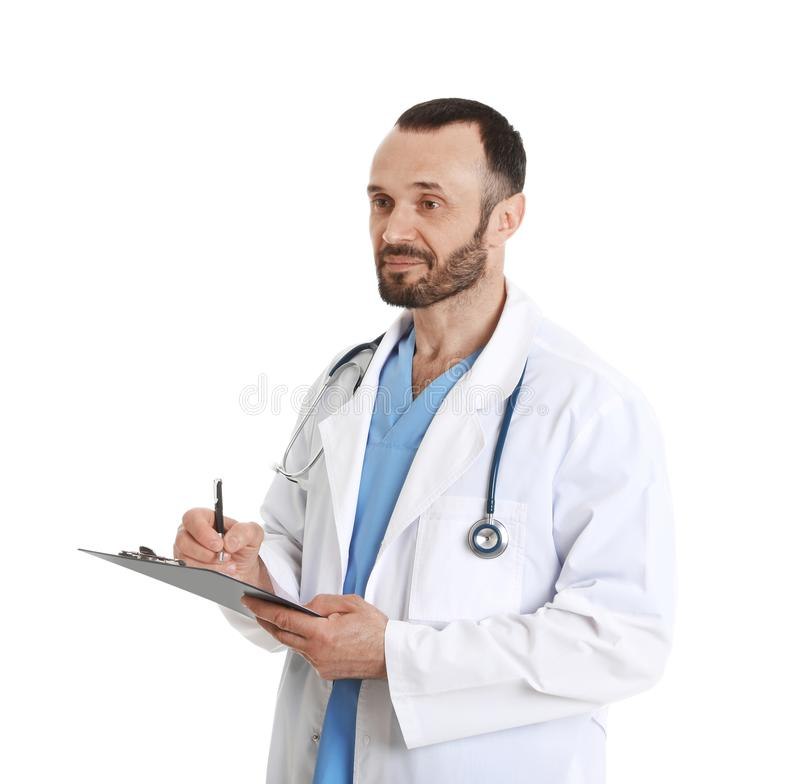 Portrait of male doctor with clipboard on white. Medical staff stock photography