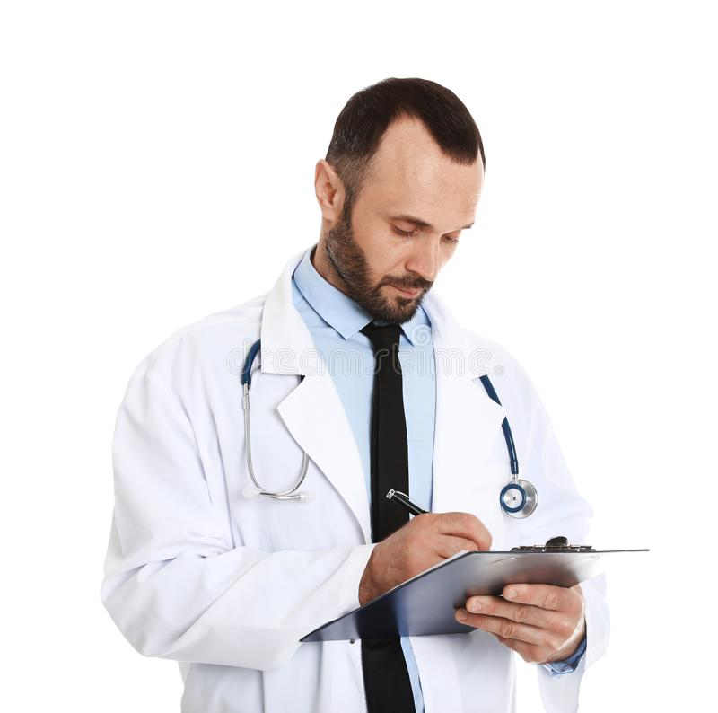 Portrait of male doctor with clipboard. Medical staff. Portrait of male doctor with clipboard  on white. Medical staff stock image