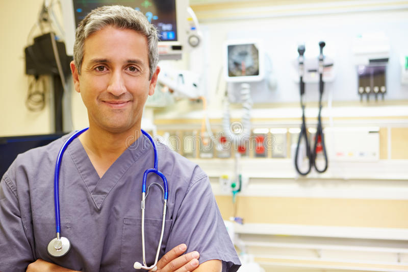 Portrait Of Male Doctor In Emergency Room stock photo