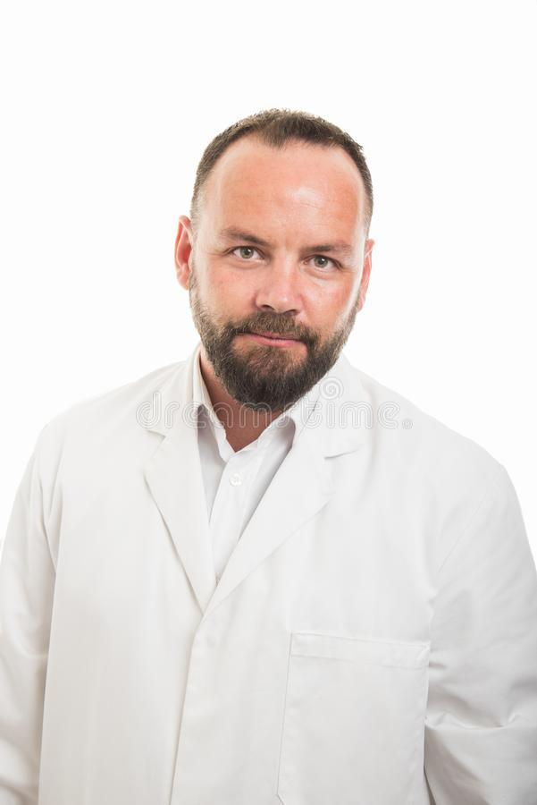 Portrait of male doctor posing wearing white robe royalty free stock images