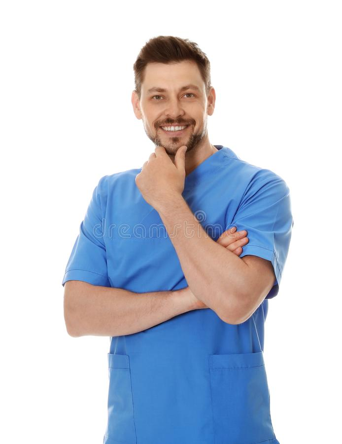 Portrait of male doctor in scrubs isolated on white. Medical staff stock photos