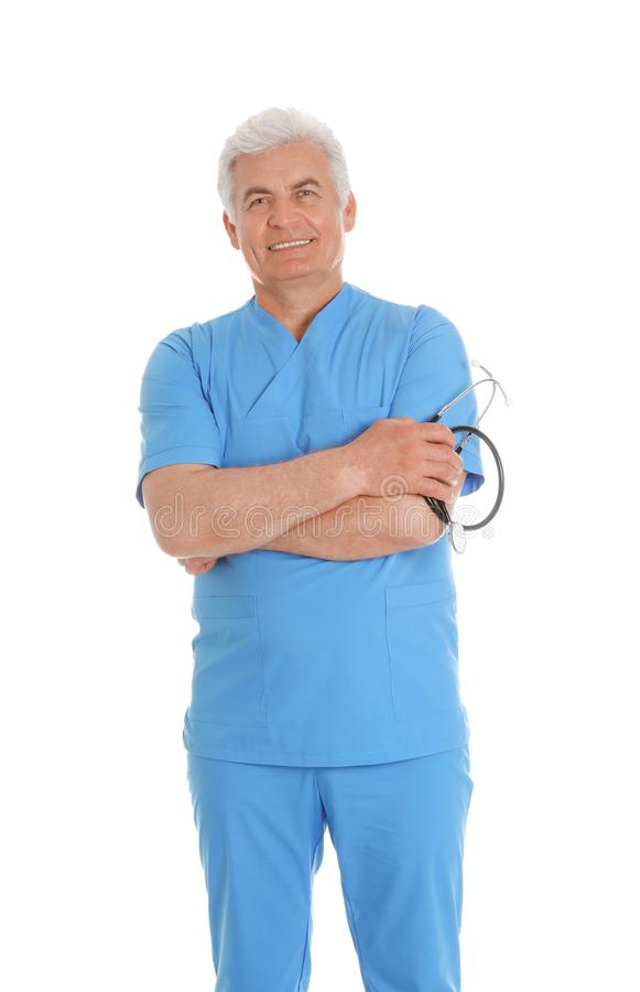 Portrait of male doctor in scrubs with stethoscope. Medical staff. Portrait of male doctor in scrubs with stethoscope isolated on white. Medical staff stock image