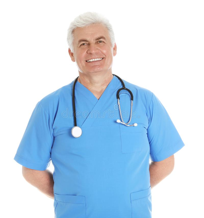 Portrait of male doctor in scrubs with stethoscope isolated. On white. Medical staff royalty free stock image
