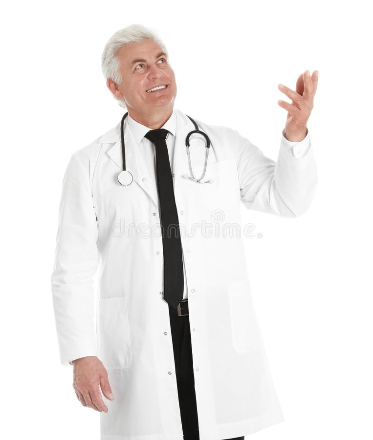 Portrait of male doctor with stethoscope. Medical staff stock images