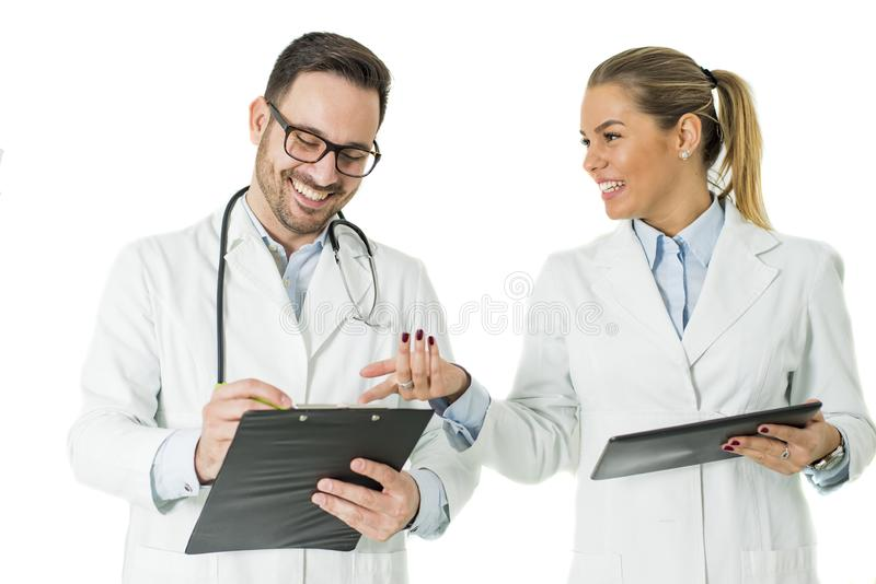 Portrait of male and female doctor royalty free stock photos