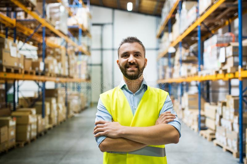 Portrait of a male warehouse worker. stock photography
