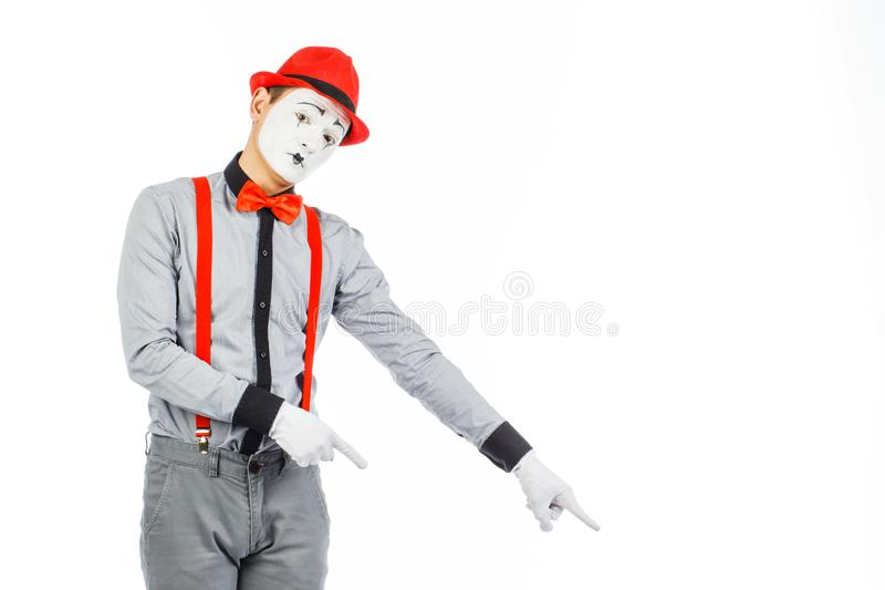 Portrait of a man, artist,clown, MIME. Shows something, isolated stock images