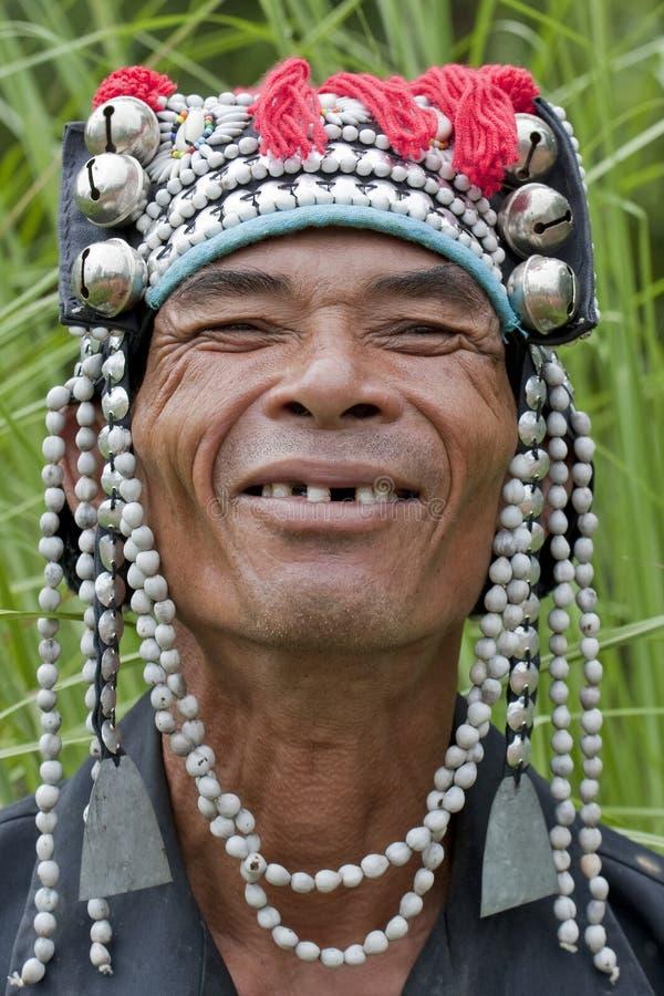 Portrait man from Asia, Akha royalty free stock photos