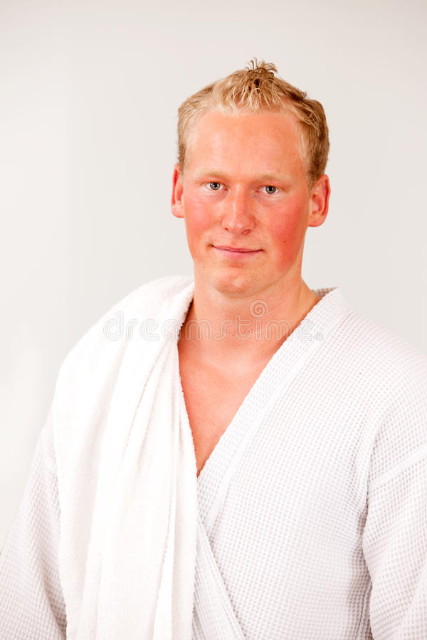 Portrait of Man in Bathrobe stock images
