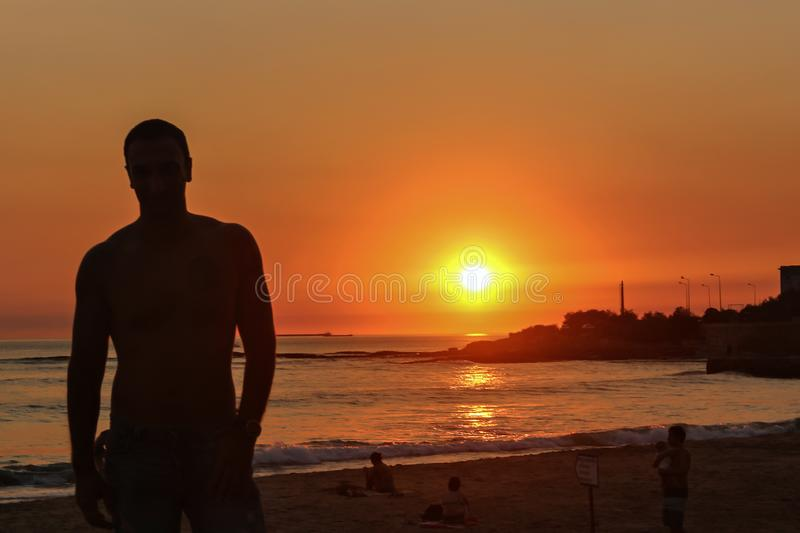 Portrait of a man on a beach royalty free stock image