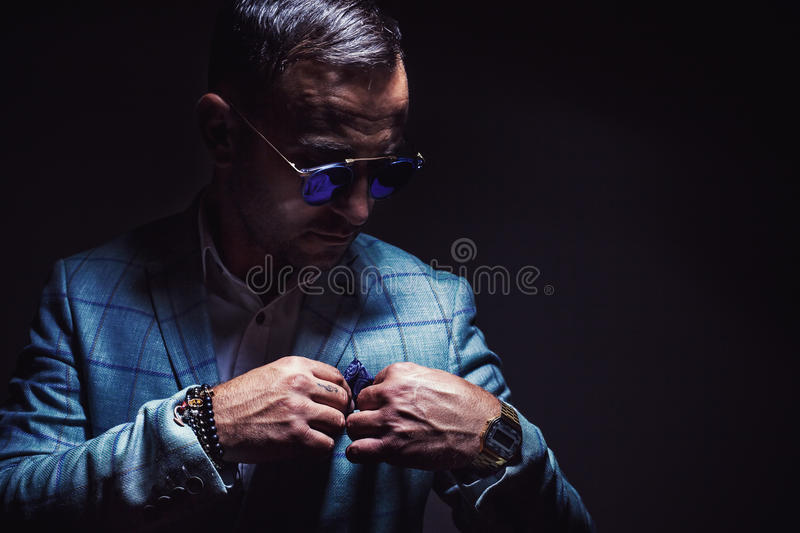 Portrait of a Man With Blue Jacket stock images