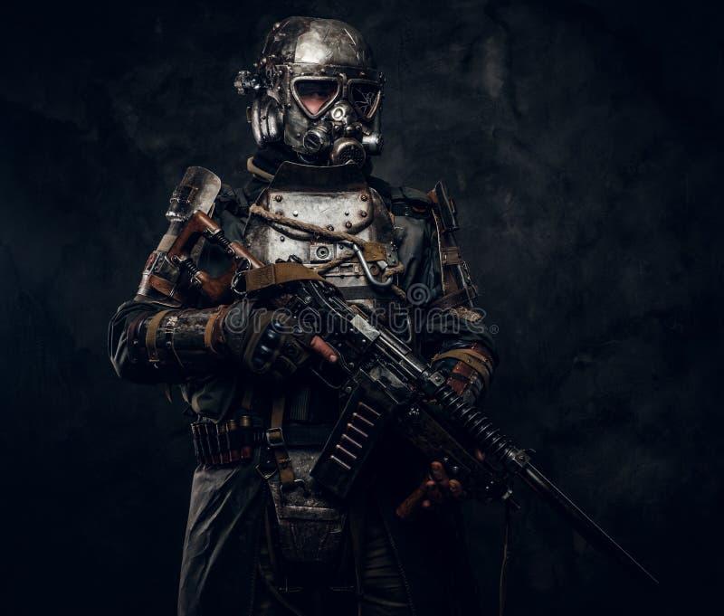Portrait of man in cyborg costume stock photos