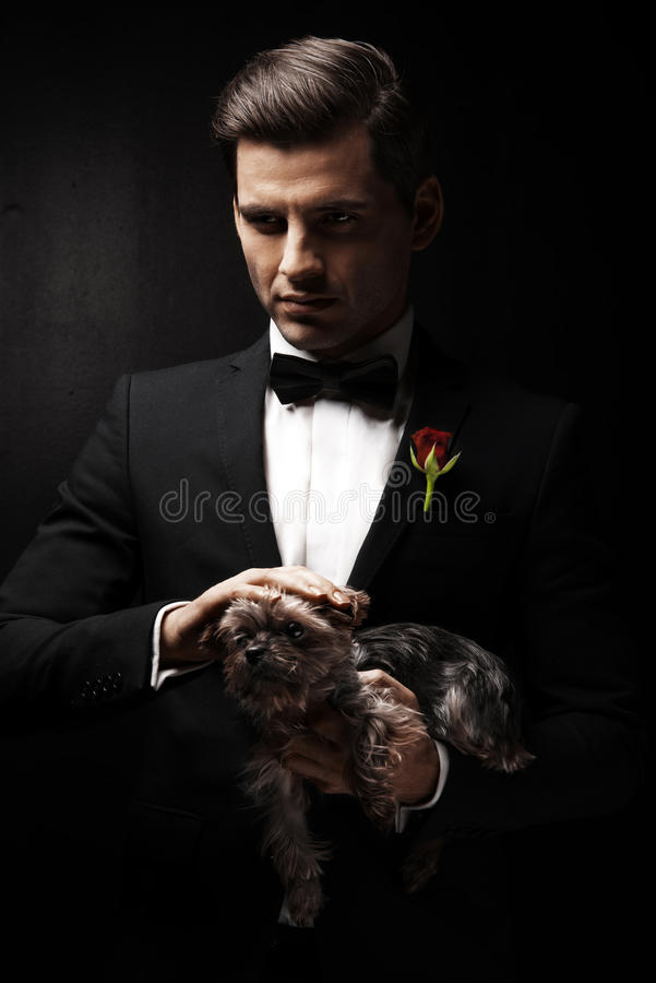 Portrait of man with dog stock photos