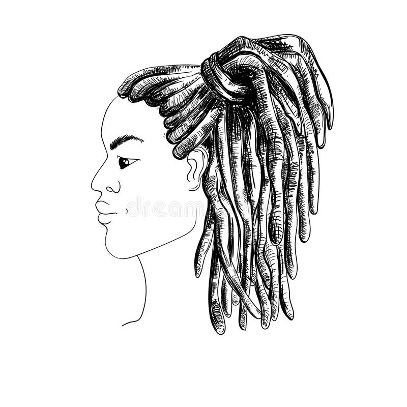 Portrait of man with dreadlocks in profile. Isolated on white background. stock illustration