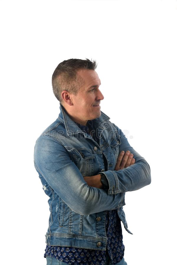 Portrait of a man dressed in denim royalty free stock photo