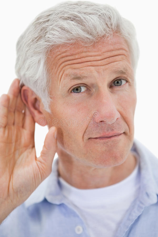 Download Portrait Of A Man Giving His Ear Stock Image - Image: 22663425