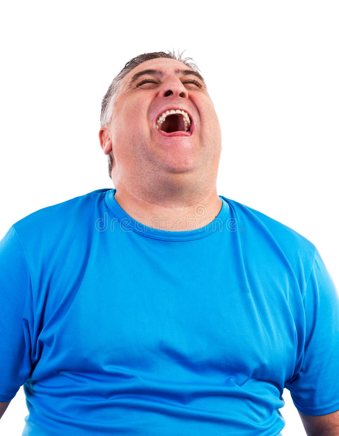 Portrait of man laughing hysterically royalty free stock photo