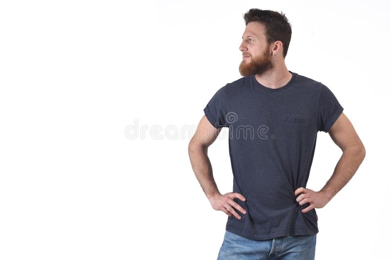 Portrait of a man loking side on white.  royalty free stock photo