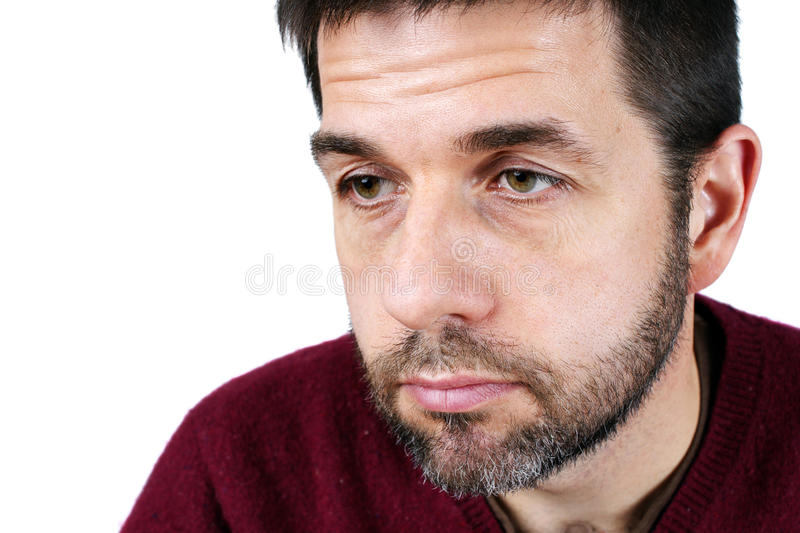 Portrait of man looking down stock photography