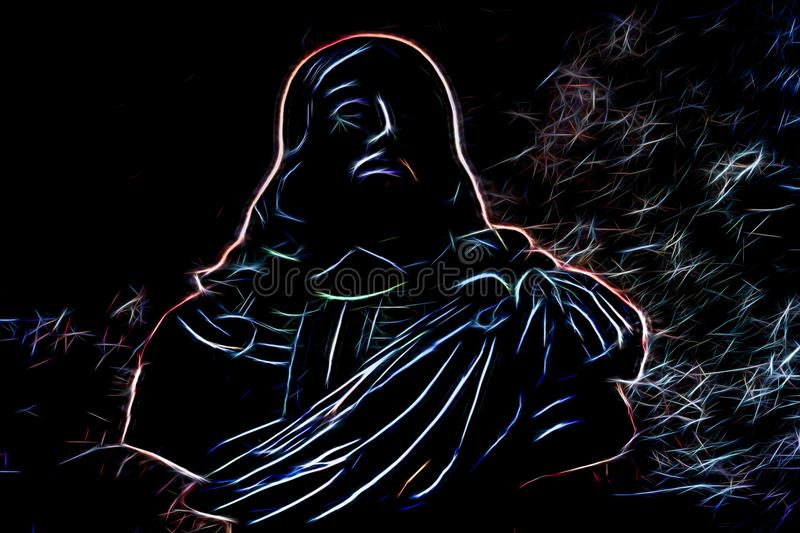 Portrait of a man made of abstract glowing lines in the dark. Colorful portrait of a man made of abstract glowing lines in the dark stock illustration