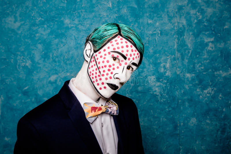 Portrait of a Man mime pop art royalty free stock photo