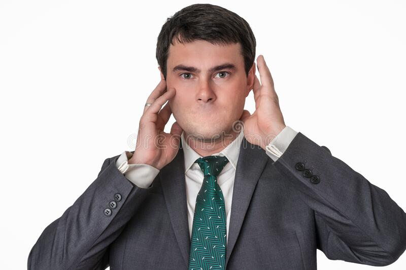 Portrait of a man without mouth stock image
