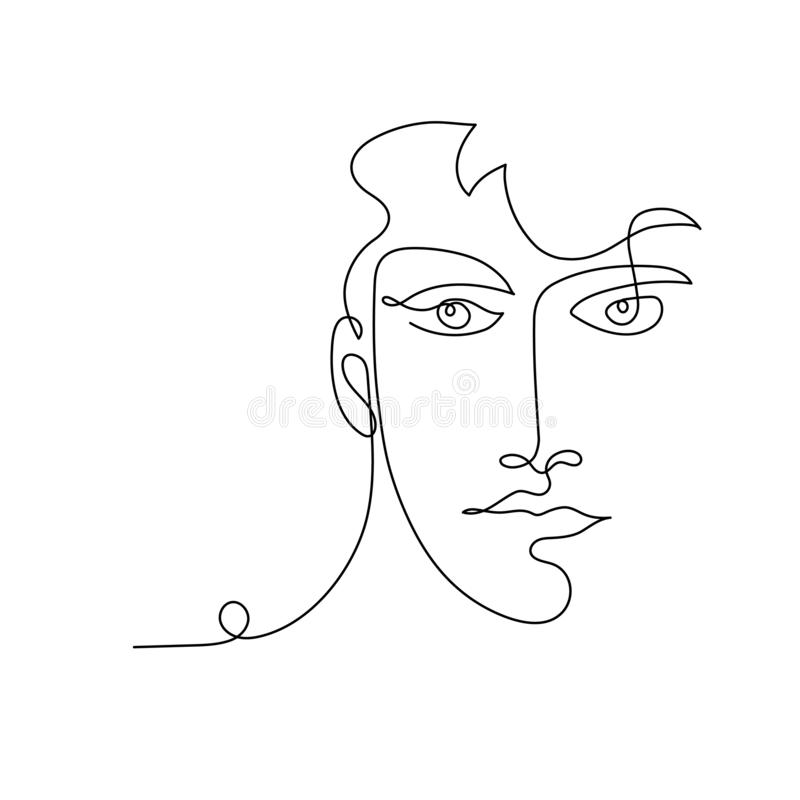 Portrait of man one line drawing stock illustration