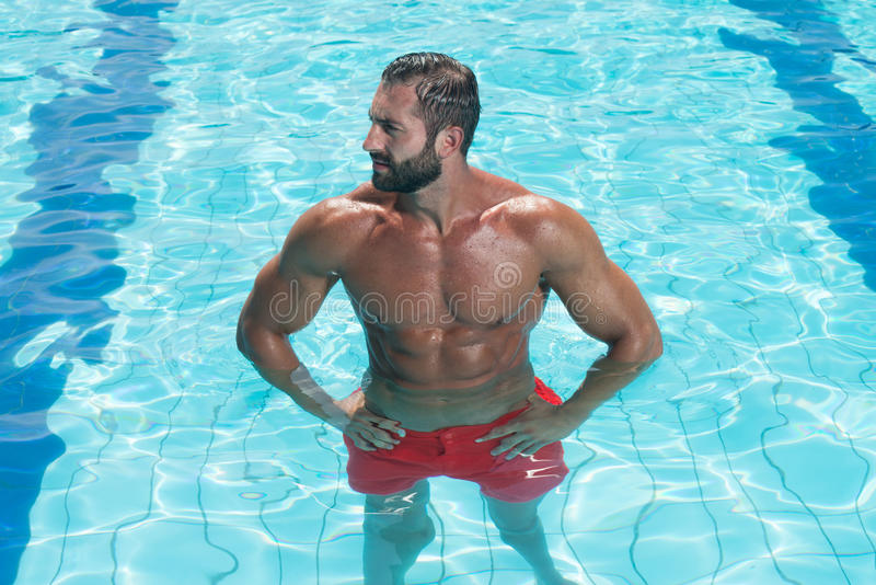 Portrait Of A Man Posing In Swimming Pool. Portrait Of A Young Wet Muscular Man Standing In Swimming Pool royalty free stock photography