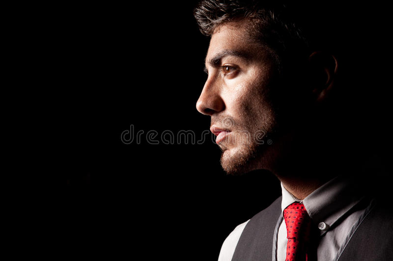 Portrait of a man in profile stock photo