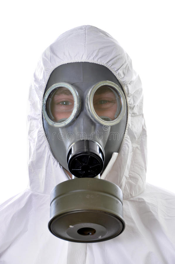 Portrait of a man in protective wear isolated. On white background stock images