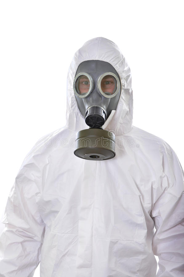 Portrait of a man in protective wear isolated. On white background royalty free stock images