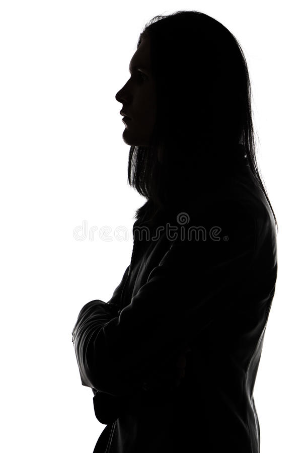 Portrait of man's silhouette in profile stock photos