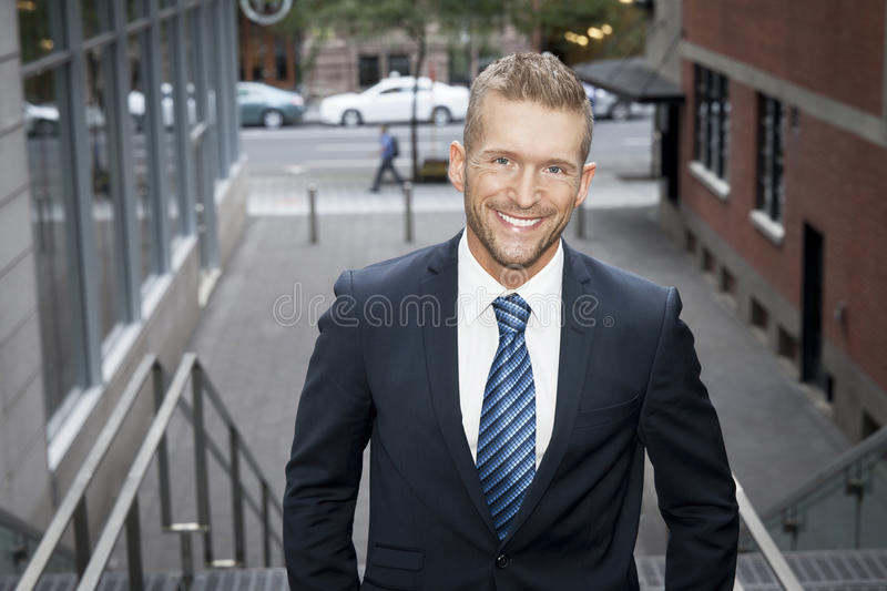 Portrait Of A Man Smiling At The Camera stock photography