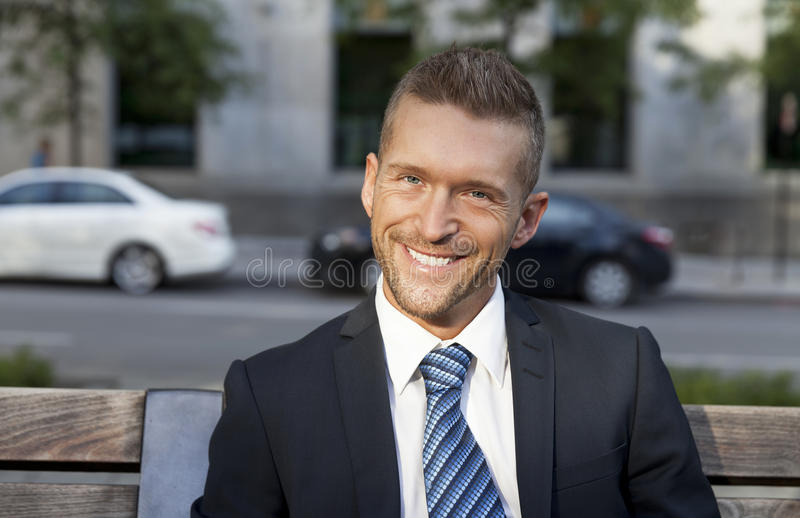 Portrait Of A Man Smiling At The Camera stock images