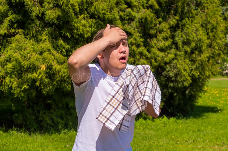 Portrait of men sneezing from allergy, in a white T-shirt, stands in the park royalty free stock photography